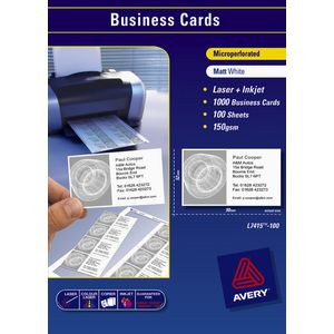Avery Business Cards Matt White 100 Sheets 10 Per Page