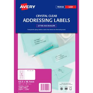 Avery Laser Addressing Labels Clear 25 Sheets 21 Per Page