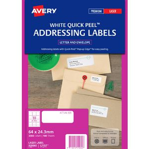 Avery Laser Address Labels White 100 Sheets 33 Per Page
