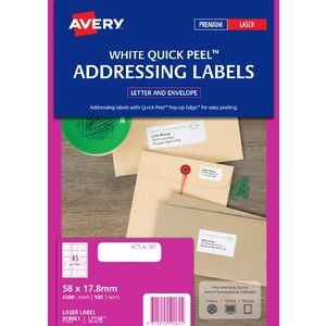 Avery Laser Address Labels White 100 Sheets 45 Per Page