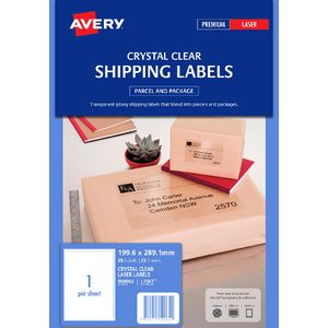 Avery Laser Shipping Labels Clear 25 Sheets 1 Per Page