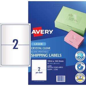Avery 2UP Laser Shipping Label Clear 25 Pack