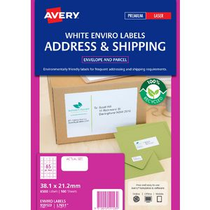 Avery Recycled Mailing Labels White 100 Sheets 65 Per Page
