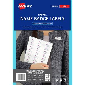 Avery Fabric Laser Name Badge Labels 15 Sheets 27 Per Page