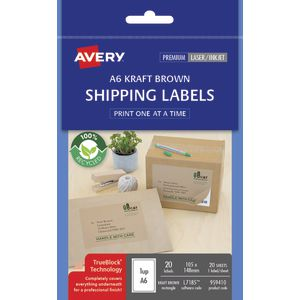 Avery Shipping Labels A6 Kraft 20 Pack