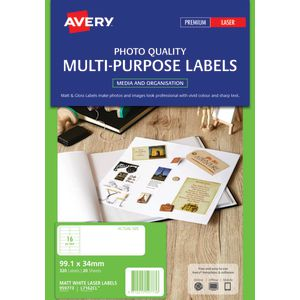 Avery Matte Colour Laser Mailing Labels 99.1 x 34mm 20 Pack