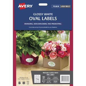 Avery Print-to-the-Edge Oval Labels Glossy White 180 Pack