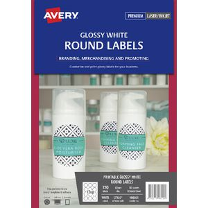Avery Print-to-the-Edge Round Labels Glossy White 120 Pack
