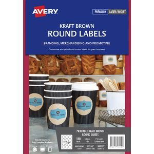 Avery Print-to-the-Edge Round Labels Kraft 180 Pack
