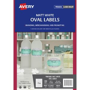 Avery Print-to-the-Edge Removable Oval Labels White 180 Pack