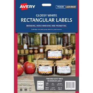 Avery Permanent Labels 80 x 35mm White 140 Pack