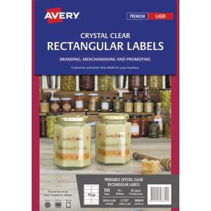 Avery Crystal Clear Rectangle Labels Transparent 100 Pack