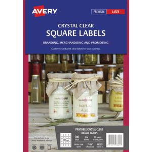 Avery Crystal Clear Square Labels Transparent 200 Pack