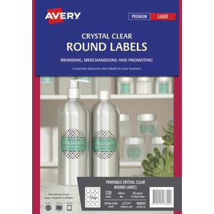 Avery Crystal Clear Round Labels Transparent 120 Pack