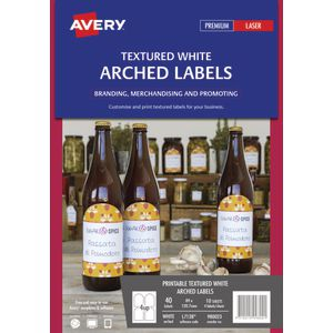Avery Print-to-the-Edge Arched Labels Textured White 40 Pack