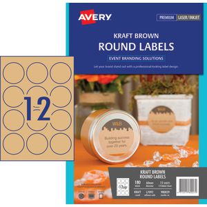 Avery Round Label 60mm Kraft 120 Pack