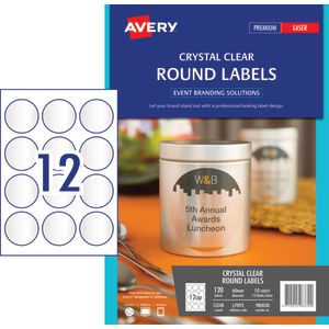 Avery Round Label 60mm Clear 120 Pack