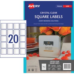 Avery Square Labels 45 x 45mm Clear 200 Pack