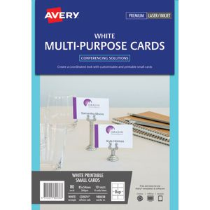 Avery Double-sided Multi-purpose Card 85 x 45mm White 80 Pack