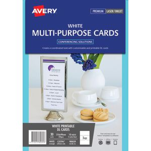 Avery Double-sided Multi-purpose Card 210 x 99mm 30 Pack