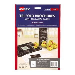 Avery Trifold Brochure with Tear Away Cards 20 Pack