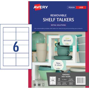 Avery Removable Shelf Talkers 55 x 85mm 30 Pack