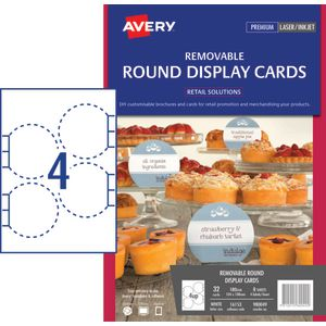 Avery Adhesive Round Display Cards 104 x 108mm 32 Pack