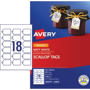 Avery Printable Scallop Pricing Tags 50 x 32mm 90 Pack