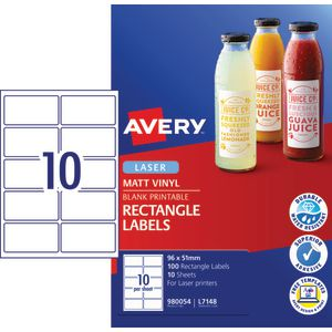 Avery Heavy Duty Labels 96 x 51mm White 100 Pack