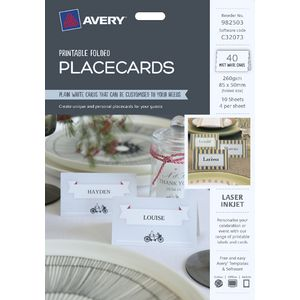 Avery Folded Place Cards 85 x 50mm 40 Pack