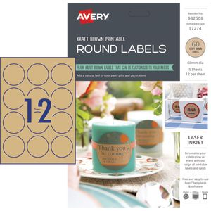Avery Kraft Round Labels 60mm 60 pack