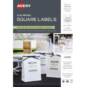 Avery Crystal Clear Square Labels 45 x 45mm 100 Pack