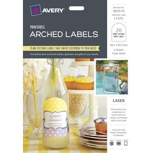 Avery Textured Arched Labels 89 x 120.7mm 20 Pack