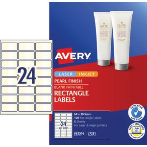 Avery Pearl Labels 64 x 30.5mm White 120 Pack