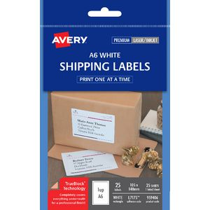 Avery A6 Shipping Labels 1 Per Page 25 Pack