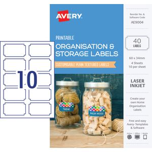 Avery Rectangle Organisation Labels 60 x 34mm White 40 Pack
