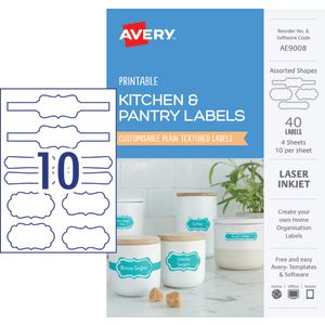 Avery Kitchen Labels Assorted White 40 Pack