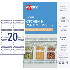Avery Rectangle Labels 66 x 15mm White 80 Pack