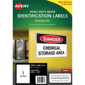 Avery Heavy Duty Labels White 2 UP 25 Pack