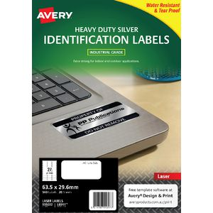 Avery Heavy Duty Labels Silver 27 UP 20 Pack