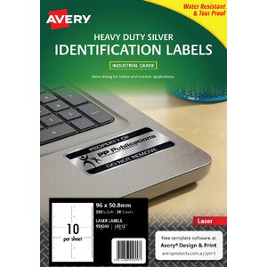 Avery Heavy Duty Labels Metallic Silver 10 UP 20 Pack
