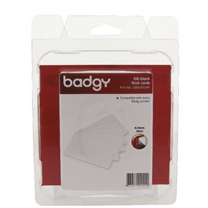 Badgy .76mm Thick Cards White 100 Pack