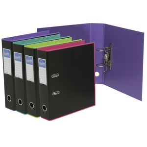 Bantex A4 Duets Lever Arch File Black and Purple 10 Pack