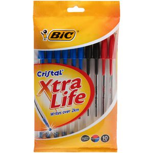 BIC Cristal Xtra Life Ballpoint Pens Assorted 10 Pack