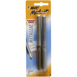 BIC Mark-it Metallic Permanent Markers Gold and Silver 2 Pack
