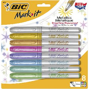 BIC Mark-It Fine Metallic Permanent Markers Assorted 8 Pack