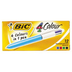 BIC 4 Colour Retractable Ballpoint Pens 12 Pack