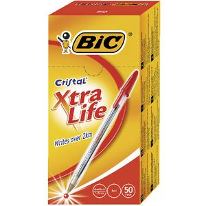 BIC Cristal Xtra Life Ballpoint Pens Red 50 Pack
