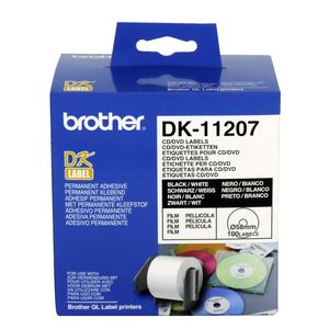 Brother CD and DVD Labels Black on White 100 Pack DK-11207