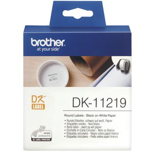 Brother Round Paper Labels 12mm Black on White DK-11219